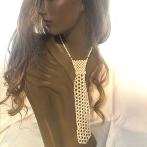 Vintage Faux Pearl beaded tie necklace